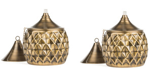 H Potter Brass Torch Garden Deck Patio Table Top - Outdoor Lighting Set of Two