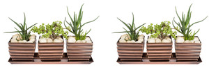 H Potter Planter Pots 2 Sets of 3 Outdoor Indoor Square Succulent Herb Box