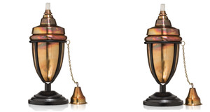 H Potter Rustic Table Top Patio Torch Rustic Copper Finish Set of Two