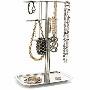 WAREHOUSE DEALS H Potter Jewelry Tree Organizer & 3 Tier Chrome Display Stand with Tray – Hanging Storage Holder for Necklaces Bracelets Rings Earrings Watches GAR604