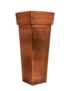 """Warehouse Deals H Potter USED Tall Square Planter – Stainless Steel w/Antique Copper Finish, Indoor & Outdoor Garden Pot & Plant Box Holder for Succulent Flowers & More, 36.5"""" Height"""