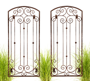 H Potter Set of 2 Garden Trellis Wrought Iron Metal Wall Screen with Wall Brackets GAR602W2