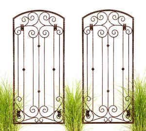 H Potter Set of 2 Garden Trellis Wrought Iron Metal Wall Screen with Wall Brackets GAR602W2