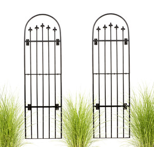 H Potter Set of 2 Large Garden Trellis Wrought Iron Garden Yard Art with Wall Mounting Brackets