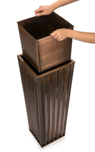H Potter Tall Stainless Steel Planter with Antique Copper Finish