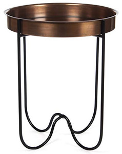 H Potter Indoor Outdoor Side Patio Table Living Room Kitchen Small Spaces Quick Folding Stand and Removable Round Metal Tray for Drinks or Appetizers Gar618 Antique Copper