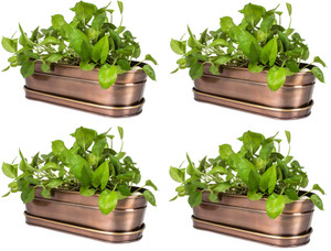 WAREHOUSE DEALS USED H Potter Large Planter Set of 4 w/Antique Copper Finish