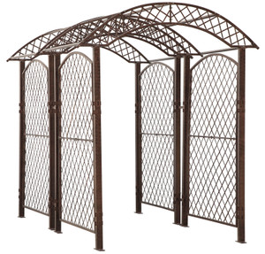 garden arbor trellis screen metal iron art yard backyard patio wedding event roses