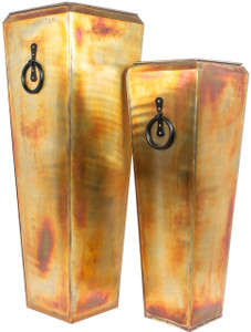 Warehouse Deals H Potter Used Santa Fe Tall Outdoor Planters Copper Large & Small