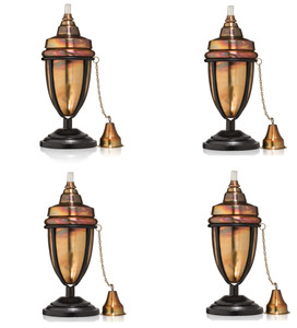 Warehouse Deals H Potter Used Set of 4 Rustic Table Top Patio Torch Rustic Copper Finish