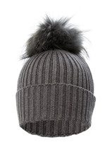 Dark Grey Fox Fur Bobble Hat