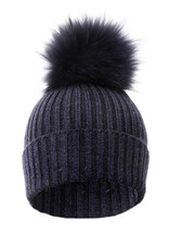 Navy Wool and Silk Blue Fox Fur Bobble Hat