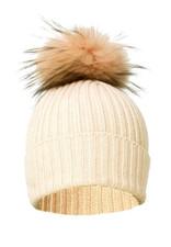 Cream Wool and Silk Fox Fur Bobble Hat