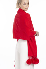 Cashmere and Silk Scarf with Faux Pom Poms in Red WPMF15A-08