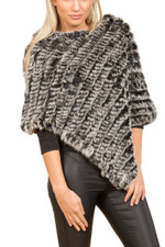 Black and Grey Coney Fur Poncho (without tassels) RF1018A-D01