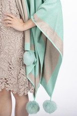 Cashmere Pom Pom Wrap in Mint