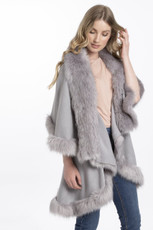 Faux Fur Wrap in Light Grey KFP23A-03