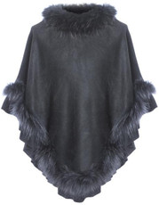 Fox Fur and Faux Suede Poncho in Black