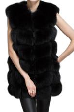 Black Check Fox Fur Gilet WAFF01