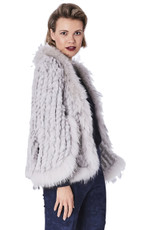 Light Grey Coney and Fox Fur Jacket RF3069A-03S