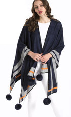 Cashmere Real Fur Pompom Wrap in Navy