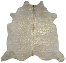 White and Gold Metallic Cowhide Rug GWMET21 (230 x 180 cm)