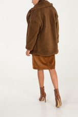 Stylish Faux Fur Teddy Coat in Brown NL5120-04