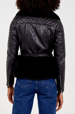 Luxury Faux Fur Trim Biker Jacket in Black NL7101-01