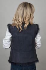 Toscana Sheepskin Gilet in Navy (