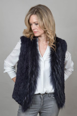 Short Navy Rabbit and Fox Fur Gilet
