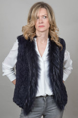Short Navy Rabbit and Fox Fur Gilet FF46A-07