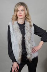 Short Light Grey Fur Gilet