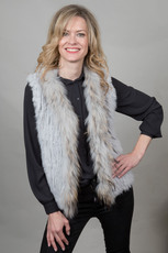 Short Light Gray Rabbit and Fox Fur Gilet
