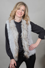 Short Light Grey Rabbit and Fox Fur Gilet  FF46A-03S