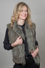 Short Khaki Rabbit and Fox Fur Gilet