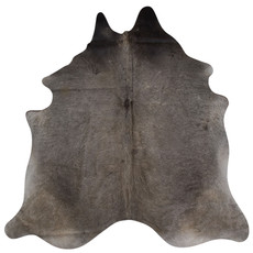 dark grey and brown cowhide rug