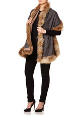 Reversible Cashmere & Wool Mix Wrap with Raccoon Fur Trim in Dark Grey & Biscuit  DBISC