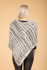 Natural Grey Coney Fur Poncho RF1018A-03