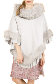 Fox Fur and Faux Suede Poncho in light grey