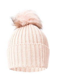 Pink Wool and Silk Fox Fur Bobble Hat
