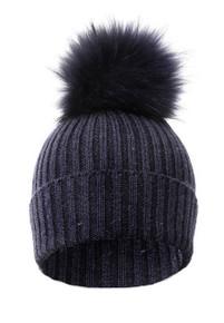 Navy Wool and Silk Blue Fox Fur Bobble Hat