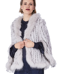 Light Grey Rabbit and Fox Fur Jacket