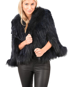 Navy and Fox and Rabbit Fur Jacket RF3069A-07