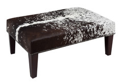 Brown & White Cowhide Footstool