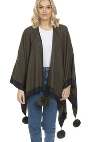 Cashmere Pom Pom Wrap in Dark Green