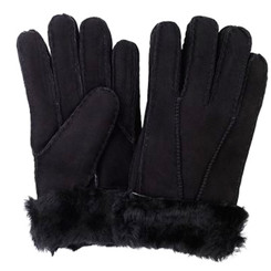 Black sheepskin gloves