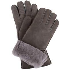 Grey sheepskin gloves