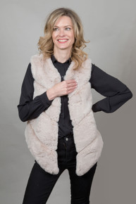 Luxury Faux Fur Gilet in Stone
