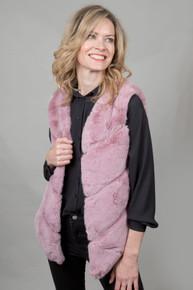 Luxury Faux Fur Gilet in Blush