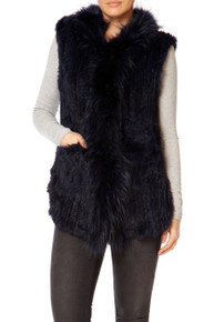 Navy Rabbit and Fox Fur Gilet
